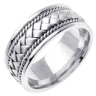 White Gold Hand Braided Wedding Band 8mm WG-152