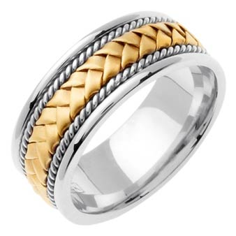 Two Tone Gold Hand Braided Wedding Band 8mm TT-160