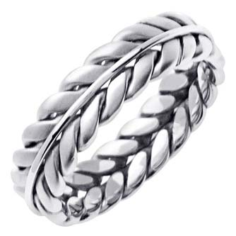 White Gold Ivy Leaf Wedding Band 5mm WG-262