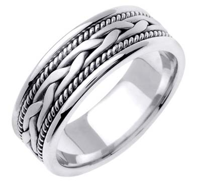 White Gold Hand Braided Wedding Band 7mm WG-455