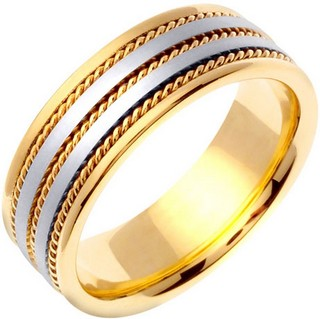 Two Tone Gold Twin Blade Wedding Band 7mm TT-761A - Click Image to Close