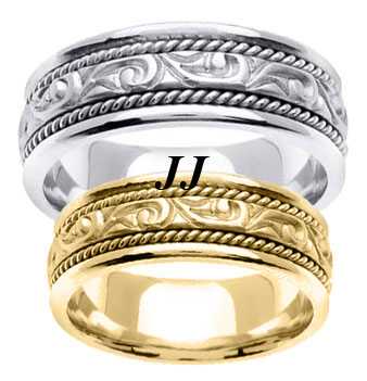 Gold Paisley Wedding Band Set 7mm GT-256S