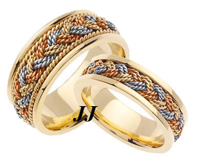Tri Color Gold Sailor Braid Wedding Band Set 6mm & 8mm TC-557AS - Click Image to Close