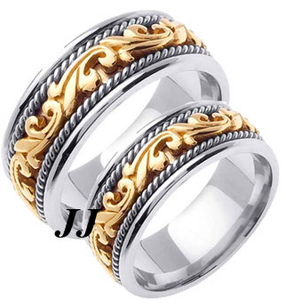Two Tone Gold Paisley Wedding Band Set 8mm & 9mm TT-259BS