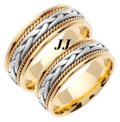 Two Tone Gold Hand Braided Wedding Band Set 7mm TT-455AS