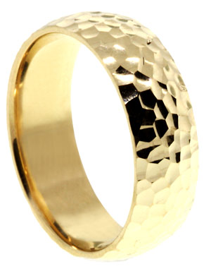 Yellow Gold Hammered Wedding Band 8mm YG-290